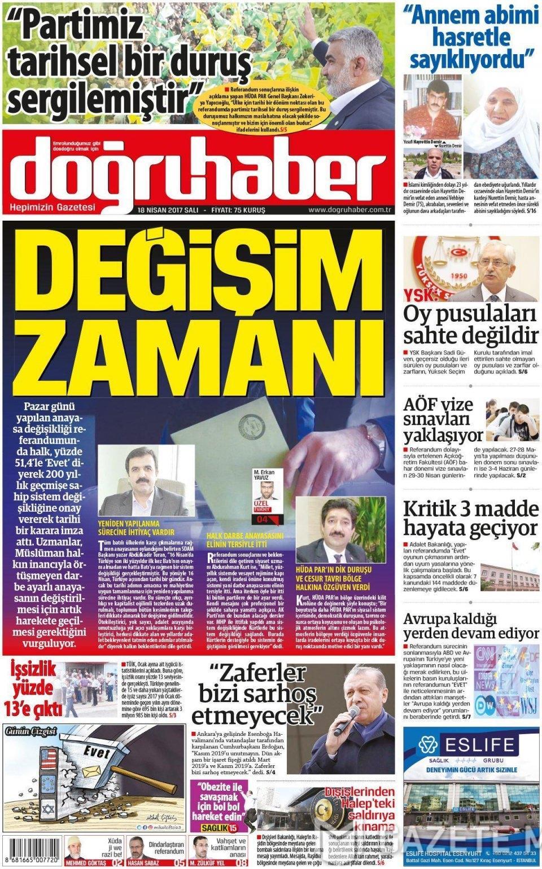 18 Nisan Salı Gazete Manşetleri Resim 1