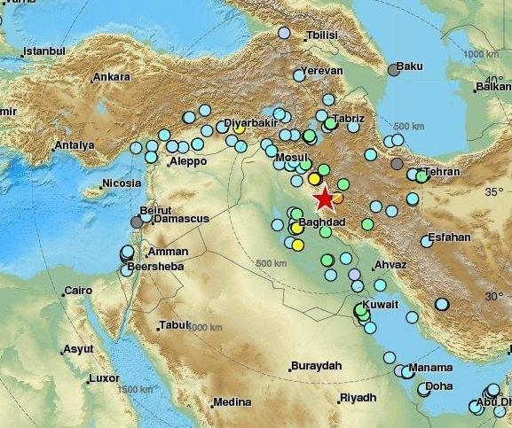 <p>Irak'taki depremden, İran, Türkiye, İsrail, Lübnan, Birleşik Arap Emirlikleri, Katar, Ermenistan ve Gürcistan'ın etkilendiği açıklandı.</p>  <p></p>