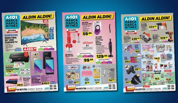 <p>A101, 29 Kasım aktüel ürünler listesi yayınlandı. Yayınlanan A101 kataloğunda bu hafta yine neredeyse piyasanın yarı fiyatına satışa sunulacak indirimli ürünler yer alıyor. İşte A101'in 29 Kasım aktüel ürünler listesine eklediği tüm ürünler ve fiyatları…</p>