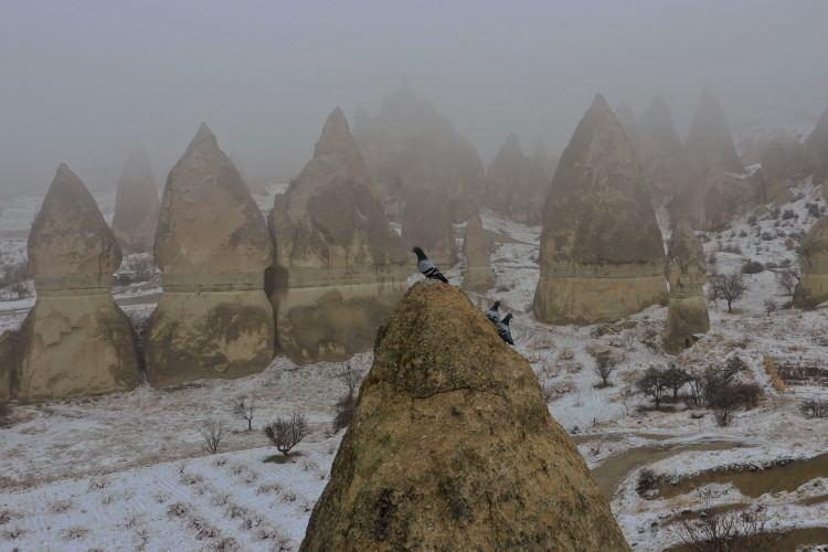 <p>Nevşehir'in dünyaca ünlü turizm bölgelerinden Kapadokya'da, beyaza bürünen peribacaları, kar yağışının ardından etkili olan sis ile bütünleşince ortaya güzel görüntüler çıktı. UNESCO Dünya Kültür Mirası Listesi'ndeki Kapadokya'da, akşam saatlerinde başlayan kar yağışının ardından peribacaları ve doğal kaya oluşumlarıyla kaplı vadiler eşsiz güzelliğe büründü.</p>
