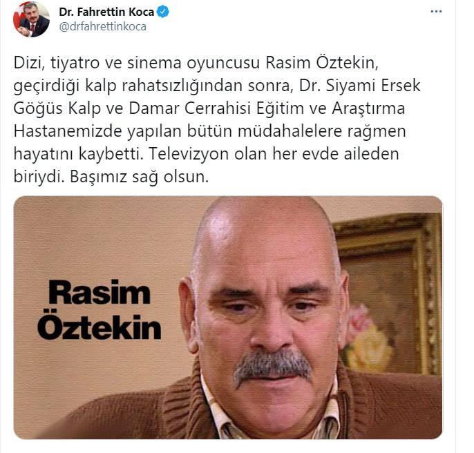 """<p>Usta oyuncu Rasim Öztekin geçirmiş olduğu kalp krizi sonrası tedavi gördüğü hastanede hayatını kaybetti.</p>  <p>Sağlık Bakanı Fahrettin Koca, Twitter'dan yaptığı açıklamada """"Dizi, tiyatro ve sinema oyuncusu Rasim Öztekin, geçirdiği kalp rahatsızlığından sonra, Dr. Siyami Ersek Göğüs Kalp ve Damar Cerrahisi Eğitim ve Araştırma Hastanemizde yapılan bütün müdahalelere rağmen hayatını kaybetti. Televizyon olan her evde aileden biriydi. Başımız sağ olsun."""" ifadelerini kullandı.</p>  <p></p>"""