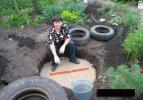 Üç lastikle evinin bahçesine bakın ne yaptı!