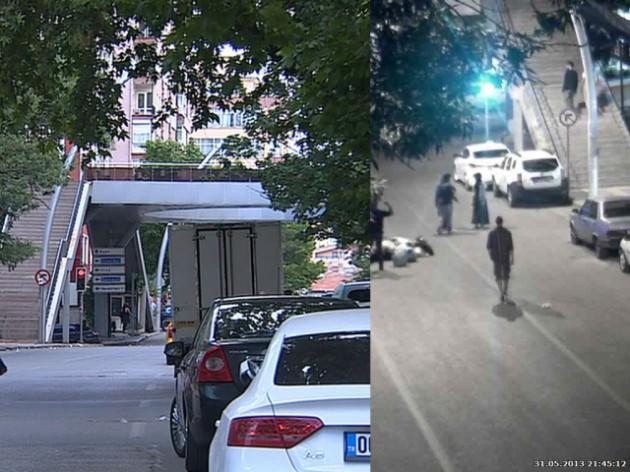 Yalan olduğu iddia edilen bayrak yakma görüntülerinin Ankara'da çekildiğini gösteren fotoğraflar.