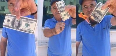 100 doları böyle yaktı! Bursa'dan ABD'ye ilginç protesto