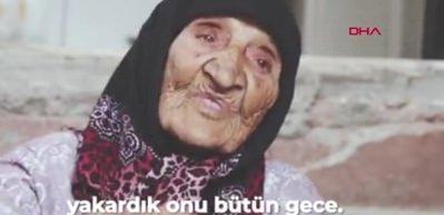 118 yaşındaki nine, evinin yolunu süpürüyor