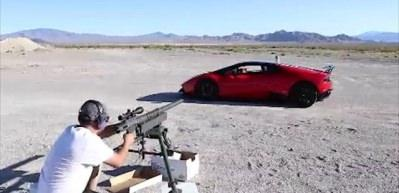 20 mm'lik mermiyi Lamborghini'nin camından...