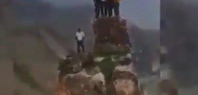 350 metre yükseklikteki Deliklitaş'ta halay çektiler