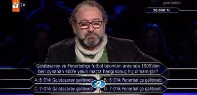 Milyoner yarışmasında Galatasaray-Fenerbahçe rekabeti soruldu!