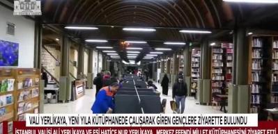 Vali Yerlikaya, yeni yıla kütüphanede çalışarak giren gençleri ziyaret etti