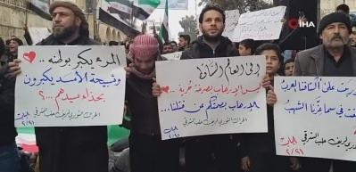 El Bab'da halk, Esad rejimini protesto etti