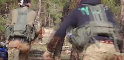 Afrin'de ele geçirilen terör kampındaki çatışma kamerada!