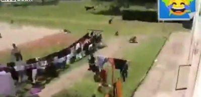Akılalmaz olay! Maç yapan çocuklara maymunlar saldırdı...