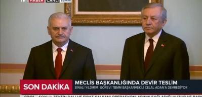 Binali Yıldırım, TBMM Başkanlığını Celal Adan'a devretti