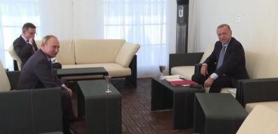 Cumhurbaşkanı Erdoğan, Rusya Devlet Başkanı Putin'le baş başa görüştü