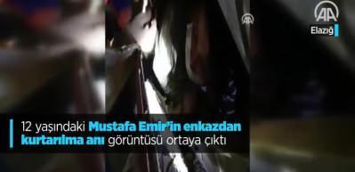 Depremde enkaz altında kalan Mustafa Emir'in kurtarılma görüntüsü ortaya çıktı