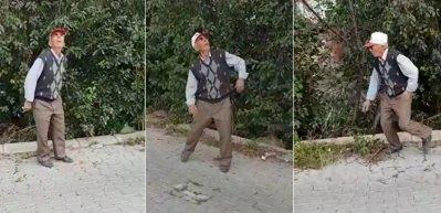 Drone gören yaşlı adamın komik tepkisi
