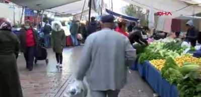 Güngören'de pazarda koronavirüse karşı alınan önlemlere uyulmadı