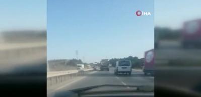 Hafriyat kamyonunun 130 kilometrelik hızı yürekleri ağza getirdi