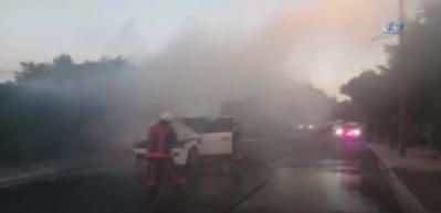 İstanbul'da 400 bin liralık lüks cip alev alev yandı