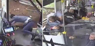 Kazada yaşanan panik anları: Otobüs şoförü yola uçtu