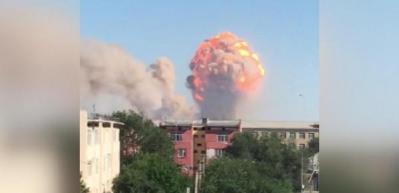 Kazakistan'da orduya ait depoda art arda patlama