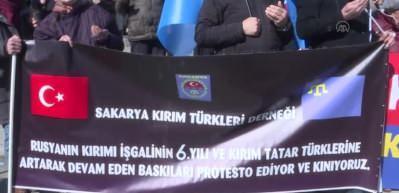 Kırım Tatar Türkleri Rusya'yı protesto etti