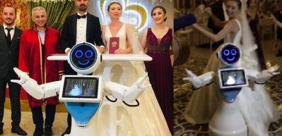 Konyalı insansı robot, nikah şahidi olup düğünde göbek attı