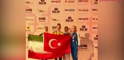 Milli tekvandocu Selen Gündüz'den İranlı rakibine bayrak dersi!
