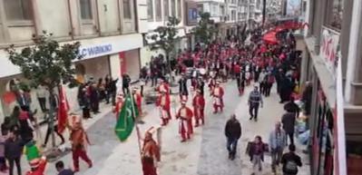 Ordu'da Mehmetçiğe destek için mehterli yürüyüş