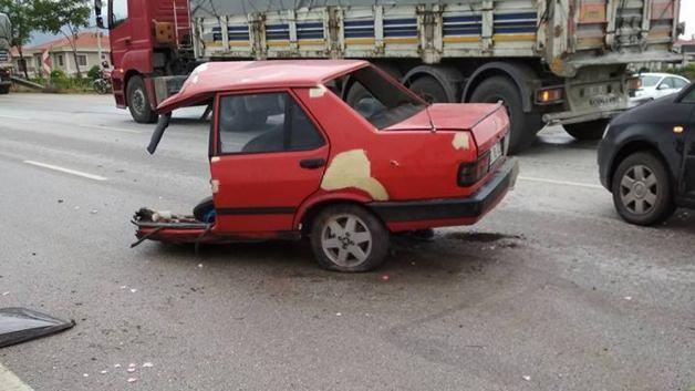 Bu araçtan burnu bile kanamadan çıktı