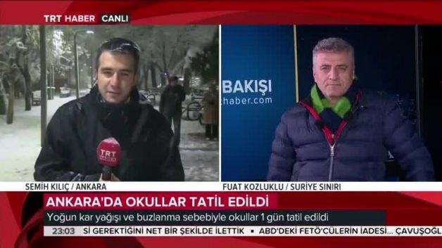 TRT muhabirine kar topu sürprizi