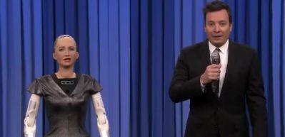 Robot Sophia ile Jimmy Fallon düet yaptı