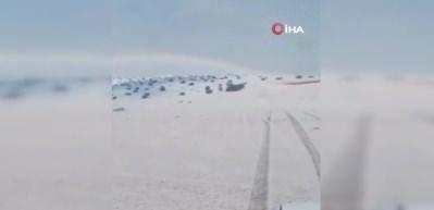 Suudi Arabistan'da kar yağdı