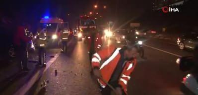 TEM'de korkutan kaza: Araçlar birbirine girdi