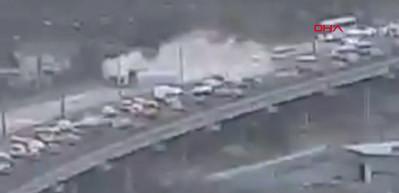 TEM'deki korkunç tanker kazası kamerada!