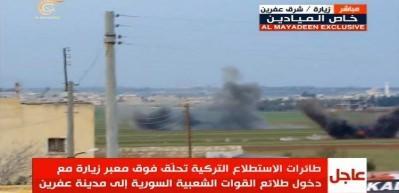 TSK, Afrin'e girmek isteyen milisleri canlı yayında bombaladı