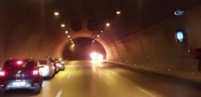 Tünelde yanan araç infilak etti!