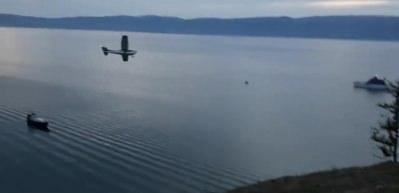 Uçak göle böyle çakıldı