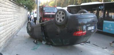 Üsküdar'da otomobil takla attı: 2 yaralı