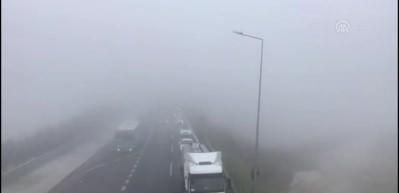 Yoğun sis trafiği kitledi