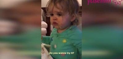 Wasabi sosunun tadını beğenmeyen kız çocuğunun komik anları