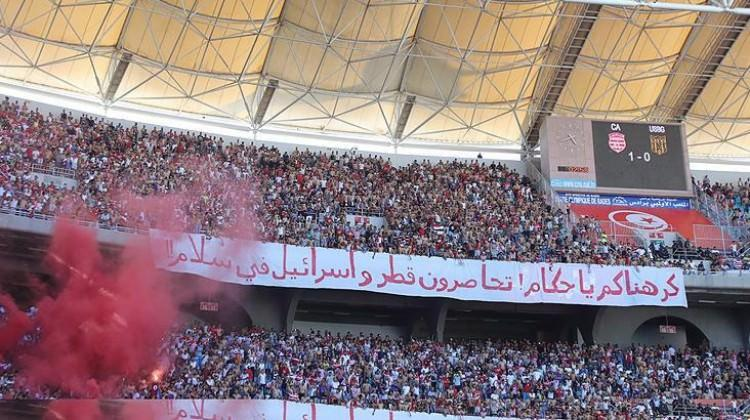Tribünlerden Katar'a destek