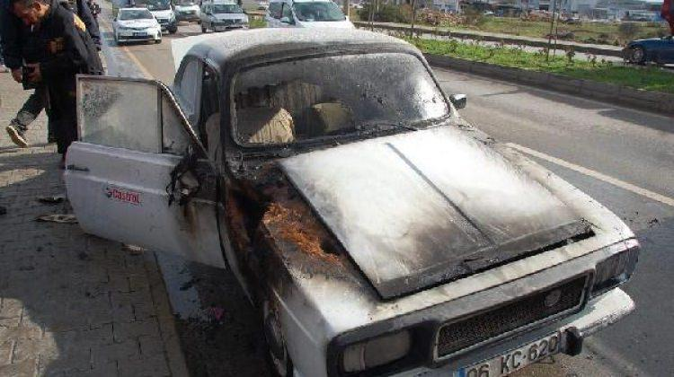 Aydın'da seyir halindeki otomobil yandı