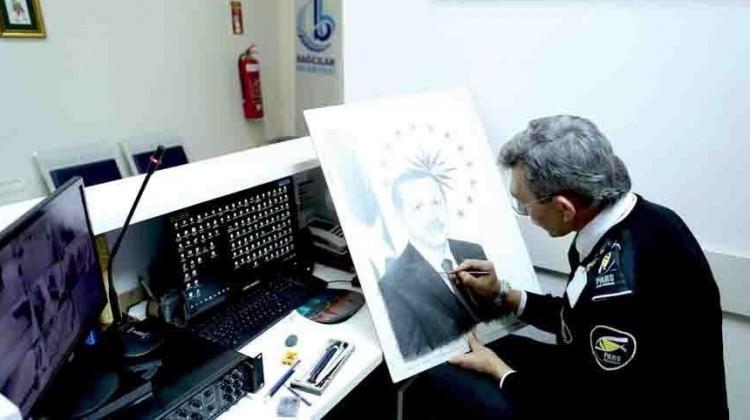 Çocuklara özendi! Erdoğan'ın portresini çizdi