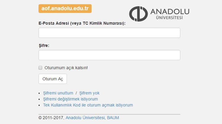 2018 AÖF güz dönemi final sınav sonucu öğrenme sayfası