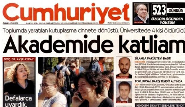 Cumhuriyet gazetesinden tehlikeli provokasyon