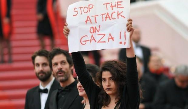 Cannes'da Filistin protestosu!