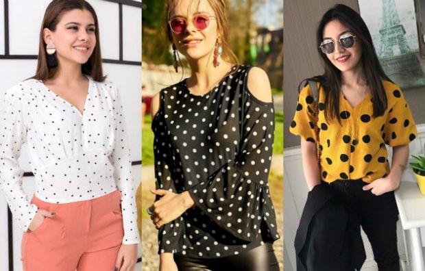 Puantiye desenli bluz modası