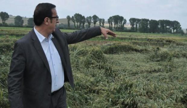 İnegöl'de ekili alanları dolu vurdu