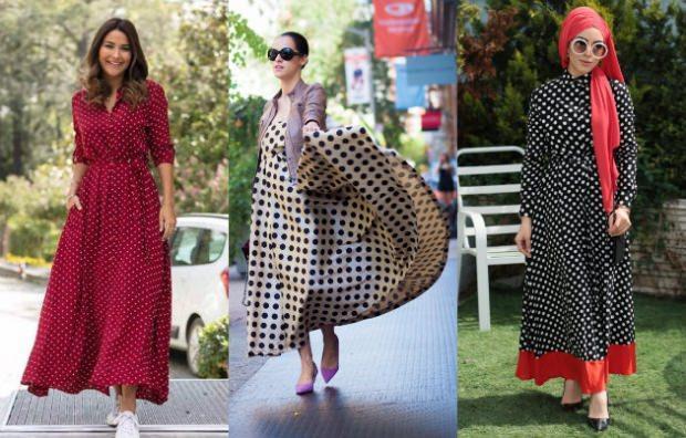 Puantiye desenli elbise modası